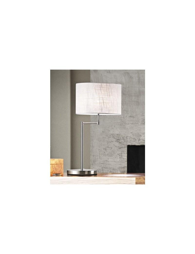 PERENZ: Lampada da tavolo cromo spazzolato lume paralume in tessuto perenz in offerta
