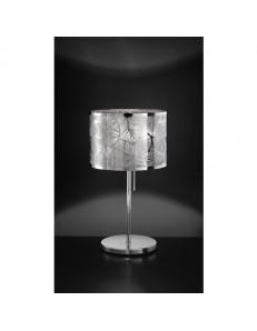 Lampada tavolo acciaio cromo lucido disegno decorativo foglie