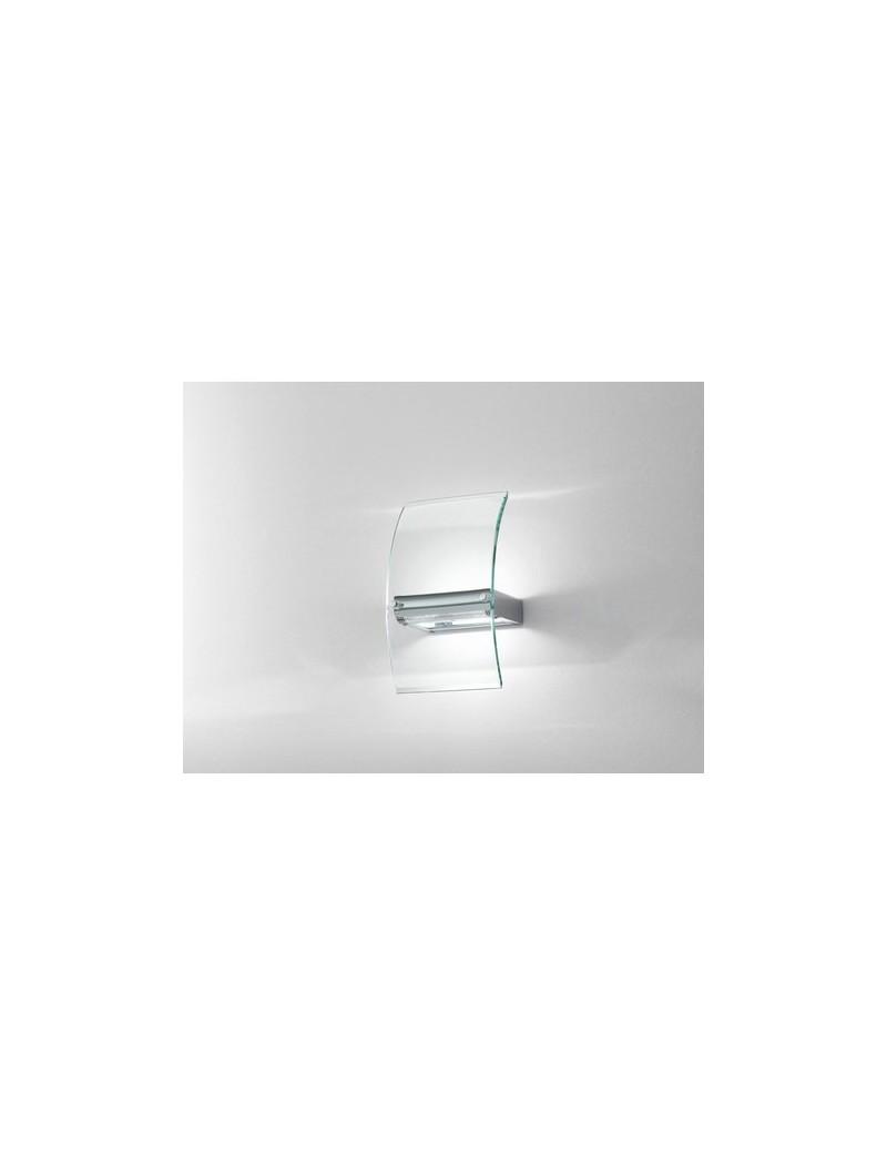 PERENZ: Applique lampada da parete cromo e vetro curvo trasparente in offerta
