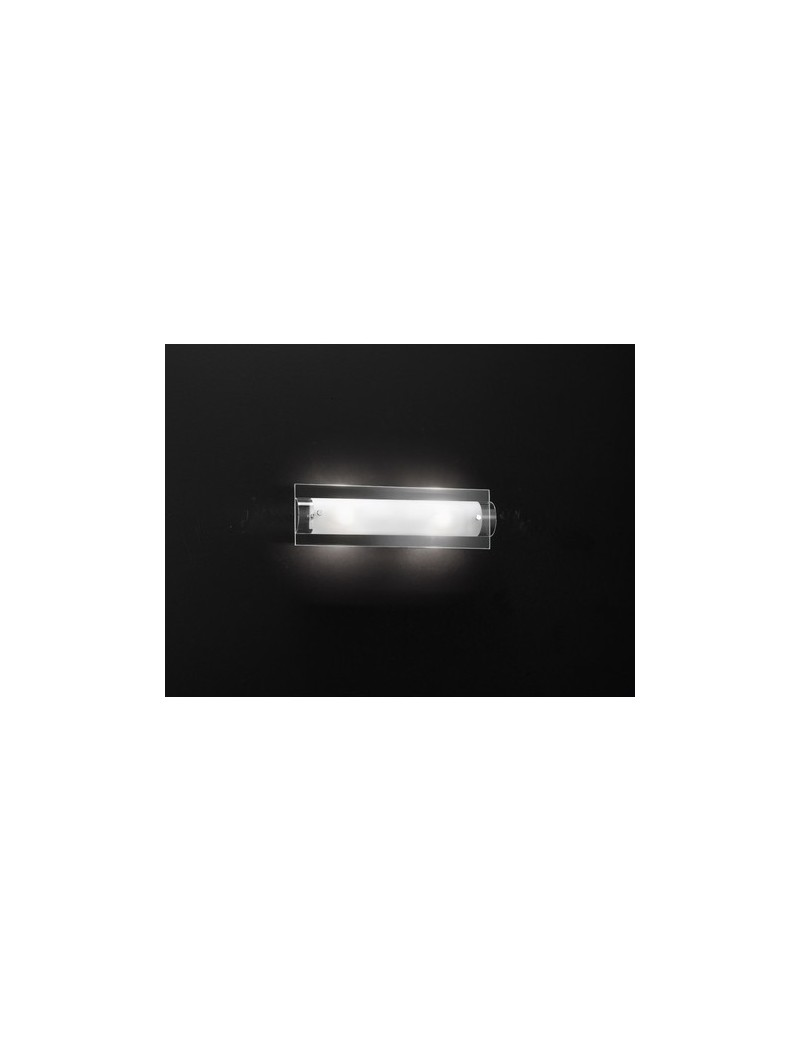 PERENZ: Applique cromo vetro trasparente e bianco media in offerta