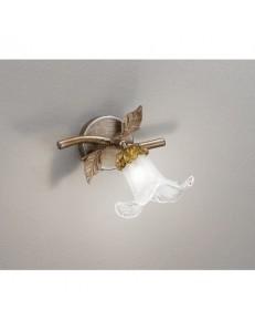 Lampada led applique faretto da parete diffusore fiore foglie in metallo