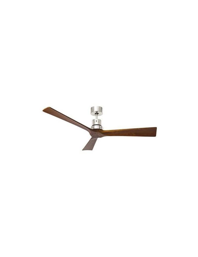PERENZ: Ventilatore soffitto finitura cromo 3 pale legno noce telecomando in offerta