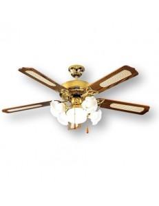 PERENZ: Ventilatore soffitto 5 pale con luce ottone lucido in offerta