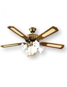 PERENZ: Ventilatore soffitto5 pale con luce ottone brunito in offerta