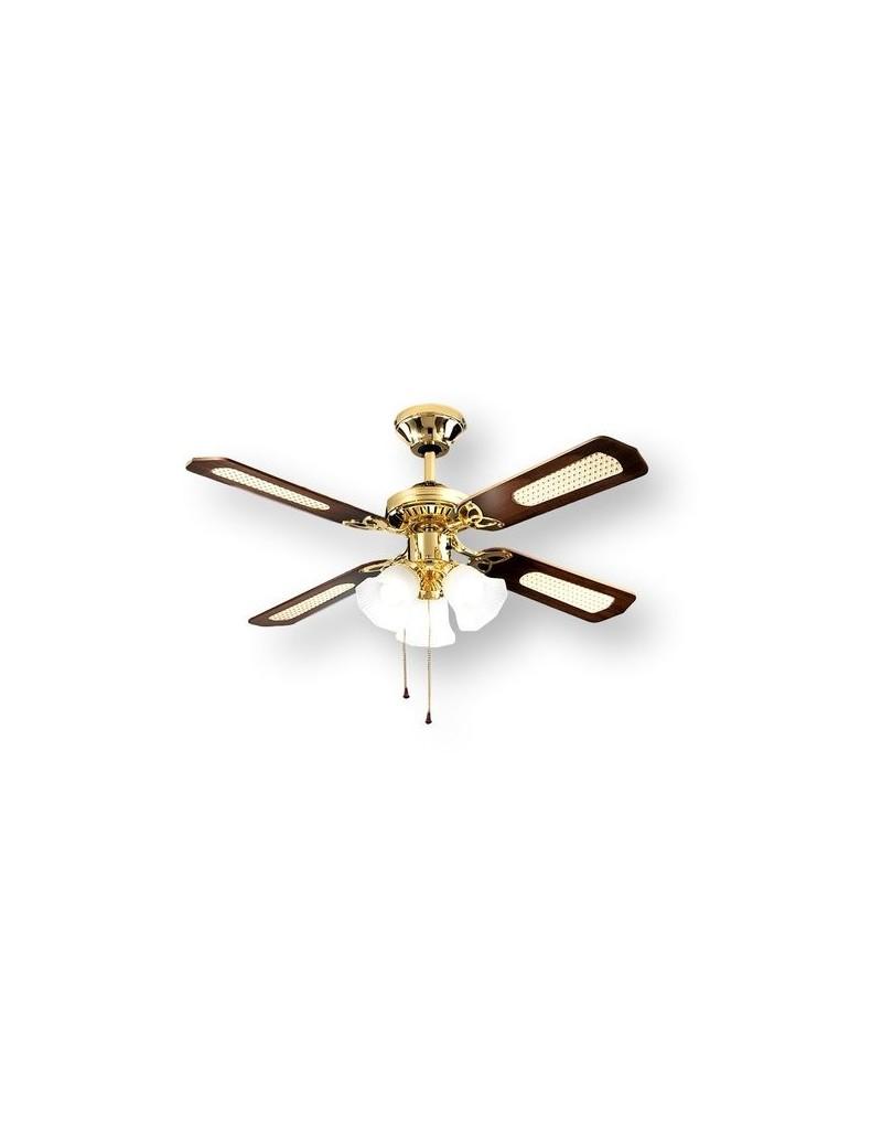 PERENZ: Ventilatore 4 pale con luce ottone lucido 105cm in offerta