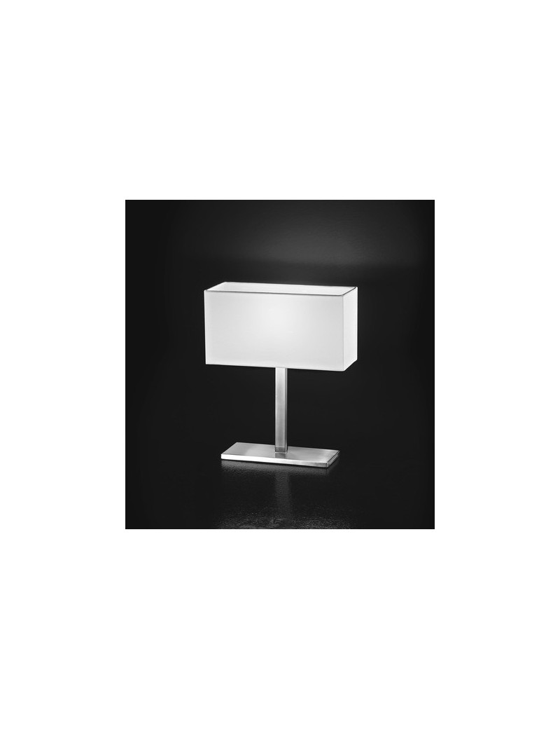 PERENZ: Abat jour lampada tavolo cromo spazzolato paralume chiaro in offerta