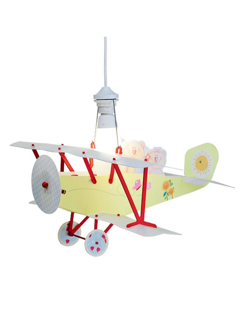 Biplano aereo lampada camera cameretta bambini orsetto sospensione