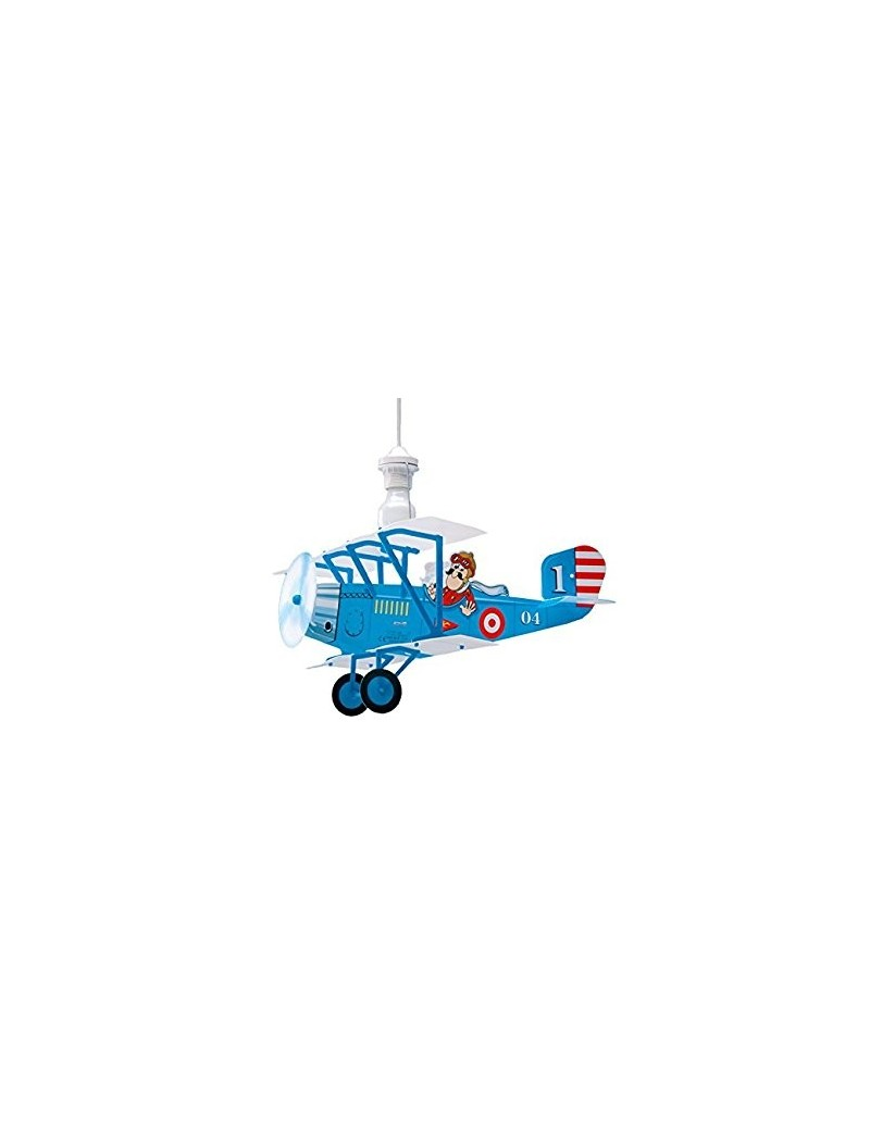 Biplano aereo blu lampada camera cameretta bambini sospensione