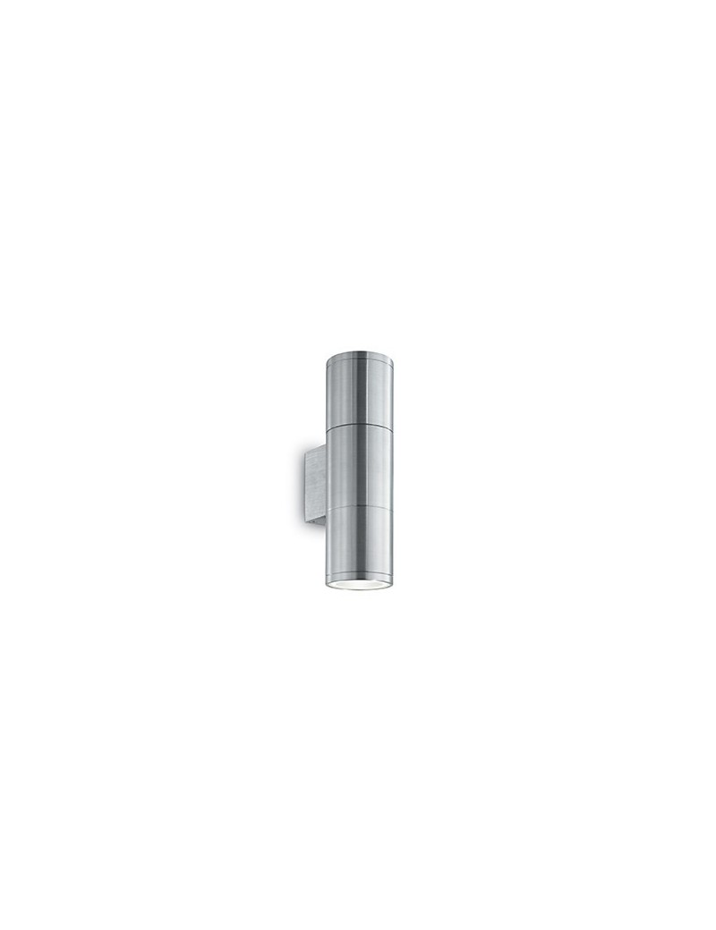 IDEAL LUX: Gun ap2 big applique parete per esterno giardino doppio diffusore alluminio vetro 21cm