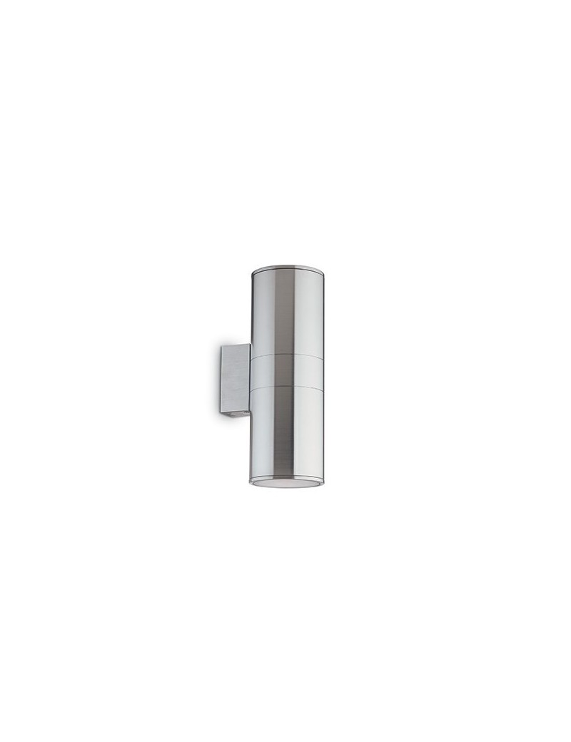 IDEAL LUX: Gun ap2 big applique parete per esterno giardino doppio diffusore alluminio vetro 31cm