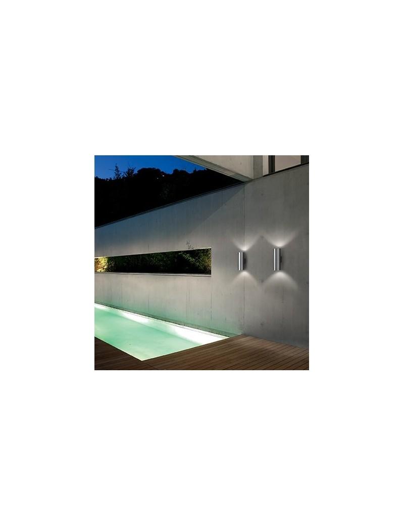 IDEAL LUX: Gun ap2 big applique parete per esterno giardino doppio diffusore bianco vetro 31cm in