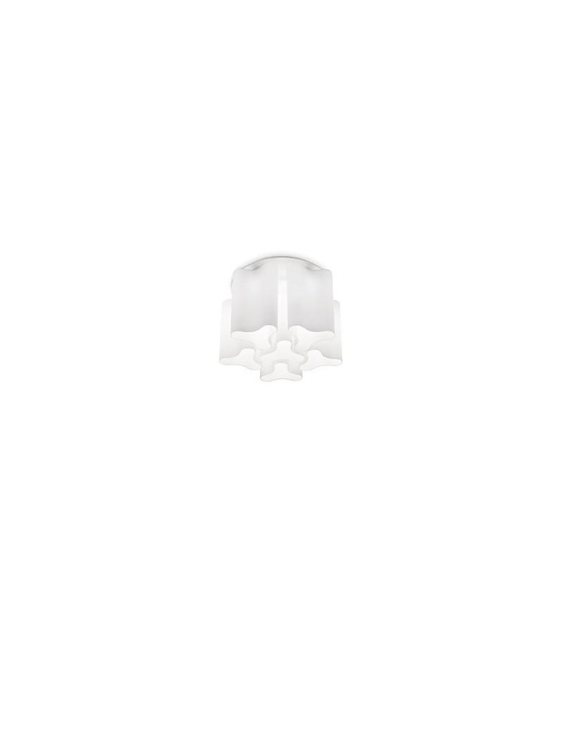 compo pl6 plafoniera vetro soffiato bianco opaco diam 56 ideal lux