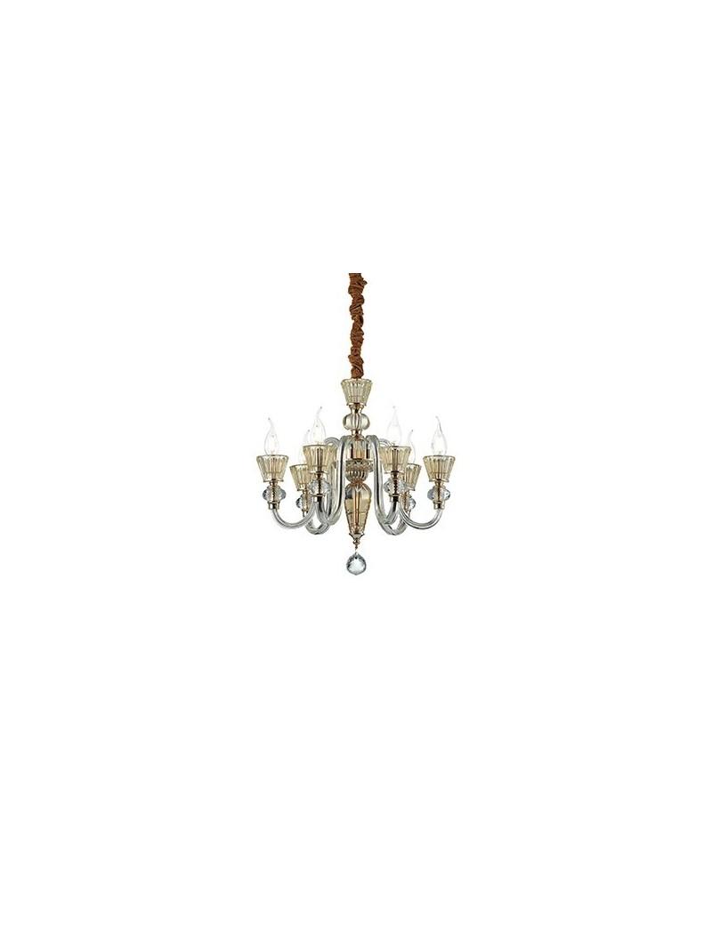 IDEAL LUX: Strauss sp6 sospensione cristallo ambrato finitura oro rosa in offerta
