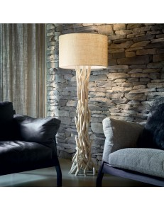 DRIFTWOOD PT1 ideal lux piantana legno naturale paralume tessuto canvas