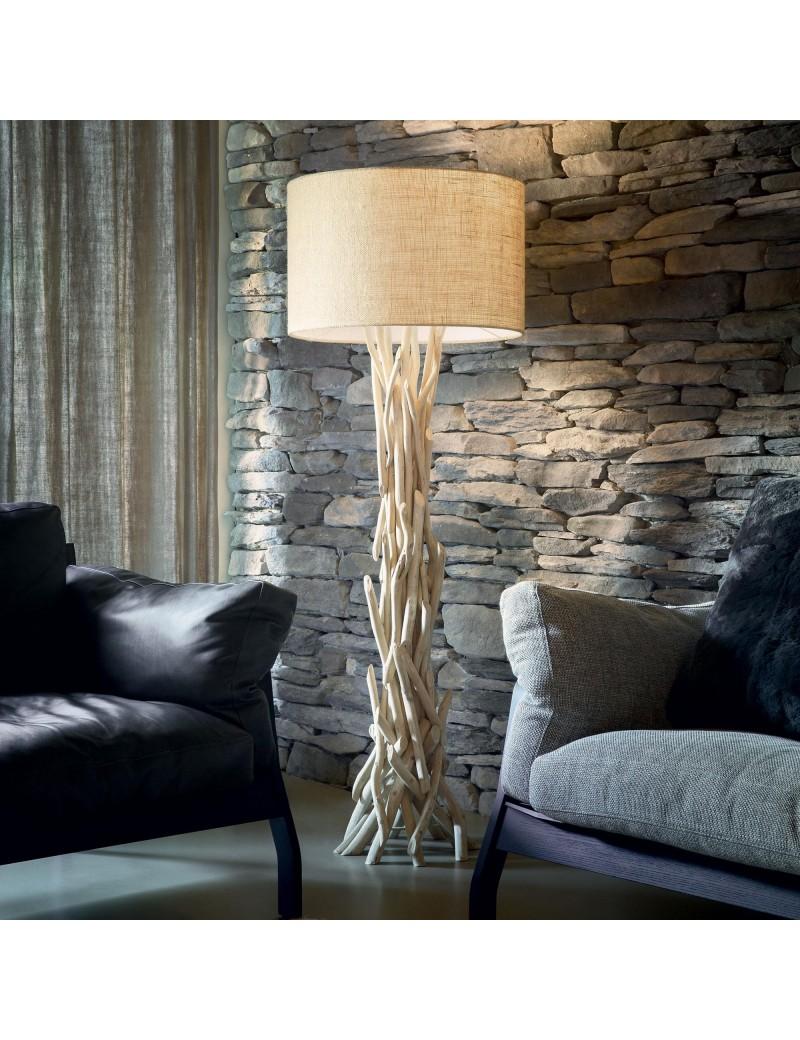 DRIFTWOOD PT1 ideal lux piantana legno naturale paralume tessuto canvas
