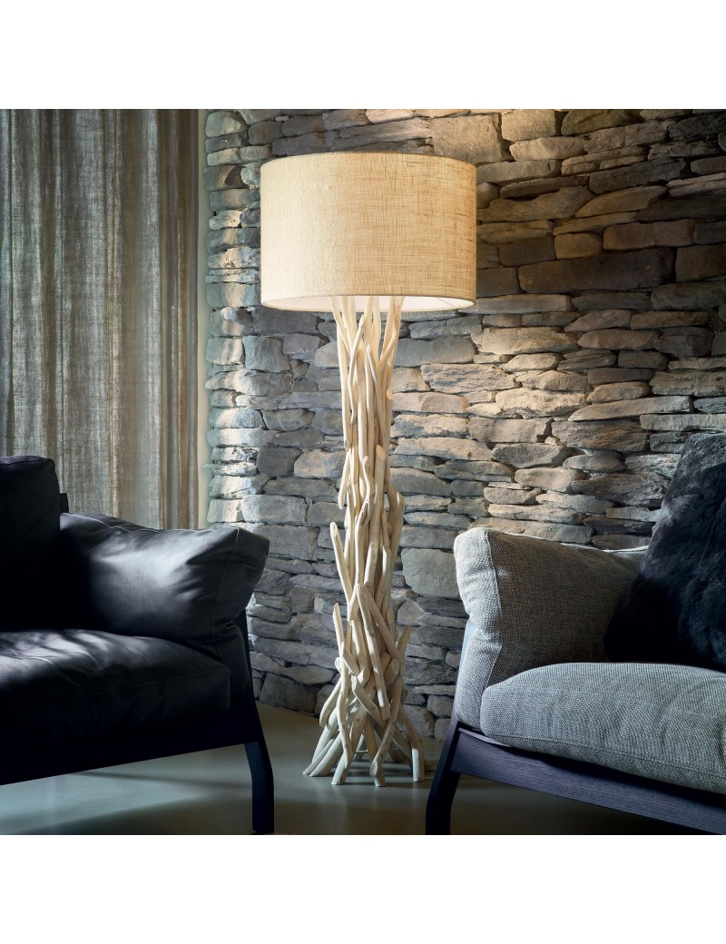 IDEAL LUX: Driftwood pt1 piantana legno naturale paralume tessuto canvas in offerta