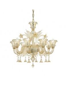 Antonietta sp8 lampadario sospensione vetro soffiato ambra ideal lux