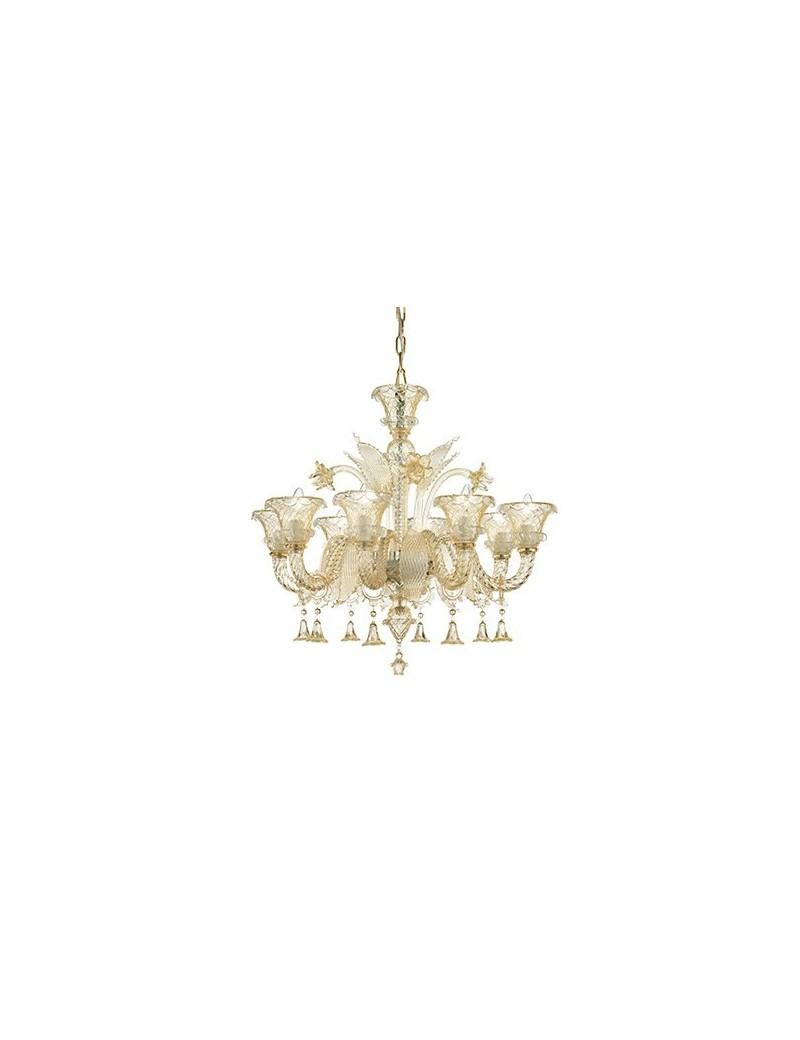 IDEAL LUX PRONTA CONSEGNA: Antonietta sp8 lampadario sospensione vetro soffiato ambra in offerta