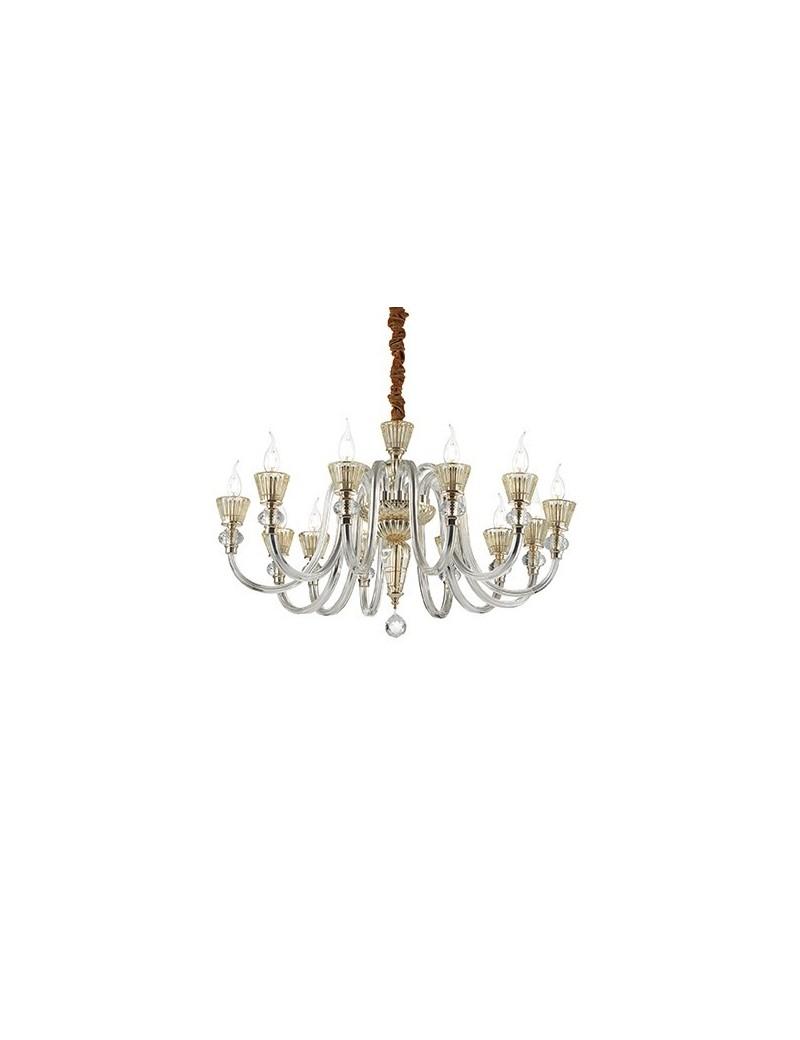 Strauss sp12 sospensione cristallo ambrato finitura oro rosa Ideal lux