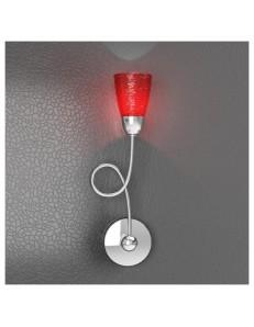 TOP LIGHT: Feeling applique moderno cromo 1 luce vetro rosso in offerta