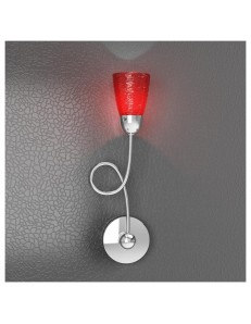 FEELING APPLIQUE MODERNO CROMO 1 LUCE VETRO ROSSO TOP LIGHT