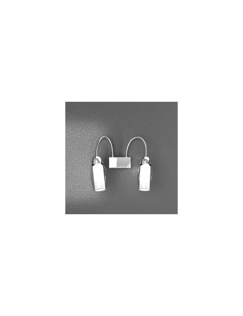 TOP LIGHT: Feeling applique moderno cromo 2 luci vetro bianco in offerta