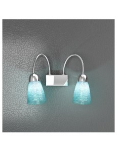 TOP LIGHT: Feeling applique moderno cromo 2 luci vetro azzurro in offerta