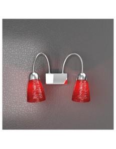 TOP LIGHT: Feeling applique moderno cromo 2 luci vetro rosso in offerta