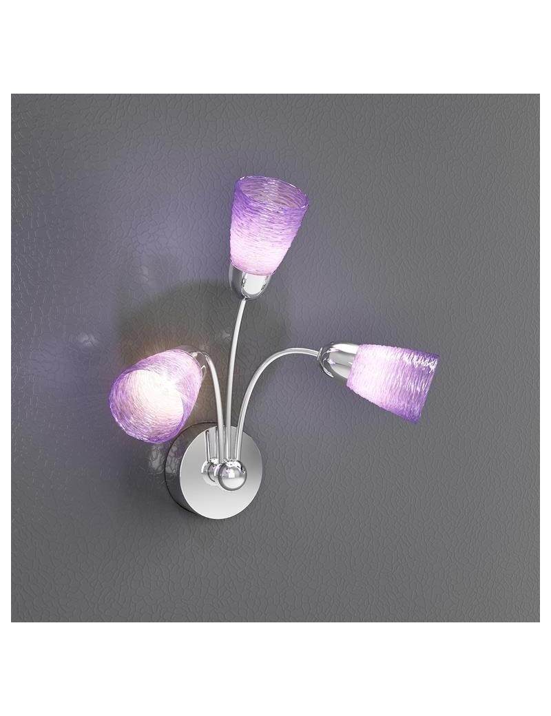 TOP LIGHT: Feeling applique moderno cromo 3 luci vetro colorato lilla in offerta