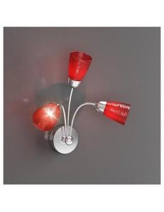 TOP LIGHT: Feeling applique moderno cromo 3 luci vetro rosso in offerta