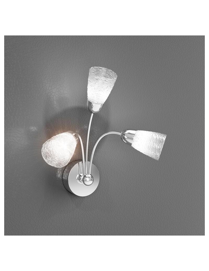 TOP LIGHT: Feeling applique moderno cromo 3 luci vetro trasparente in offerta
