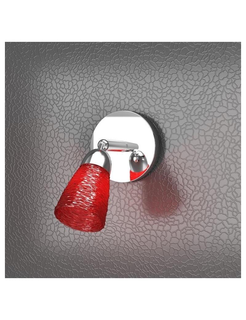 TOP LIGHT: Feeling faretto moderno cromo 1 luce vetro rosso in offerta