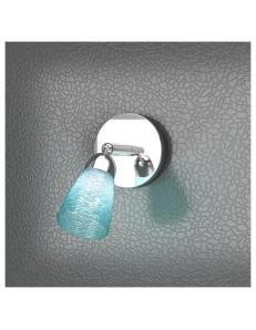 Feeling faretto moderno cromo 1 luce vetro azzurro