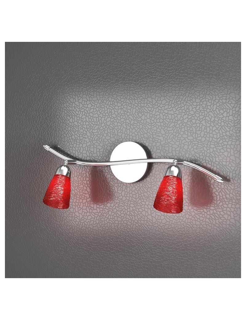 TOP LIGHT: Feeling faretto moderno cromo 2 luci vetro rosso in offerta