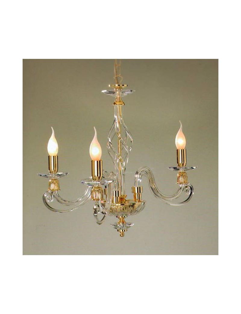 Lampadario 3 luci in vetro soffiato decoro oro trasparente