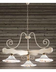 ONDALUCE: Bilanciere legno bianco ferro avorio 3 luci triangolare piatti ceramica in offerta