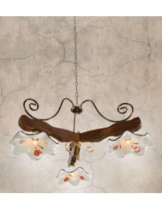 ONDALUCE: Bilanciere legno noce ferro ruggine 3 luci triangolare piatti ceramica in offerta