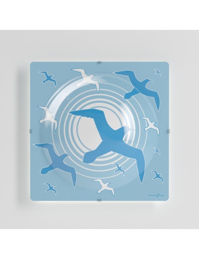 LINEAZERO: Plafoniera per cameretta bambini design gabbiani blu azzurro in offerta