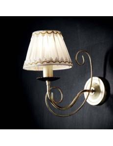ONDALUCE: Applique camera soggiorno metallo avorio oro anticato paralume tessuto plisse in offerta