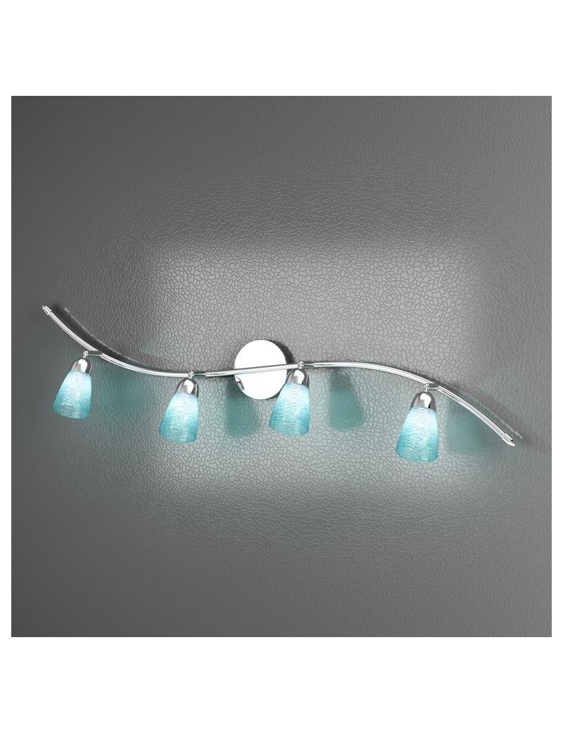 TOP LIGHT: Feeling applique orientabile moderno cromo 4 luci vetro azzurro in offerta