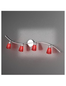 FEELING APPLIQUE ORIENTABILE MODERNO CROMO 4 LUCI VETRO ROSSO TOP LIGHT