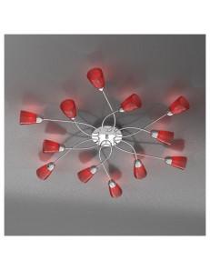 FEELING PLAFONIERA LAMPADA CROMO 12 LUCI VETRO ROSSO TOP LIGHT