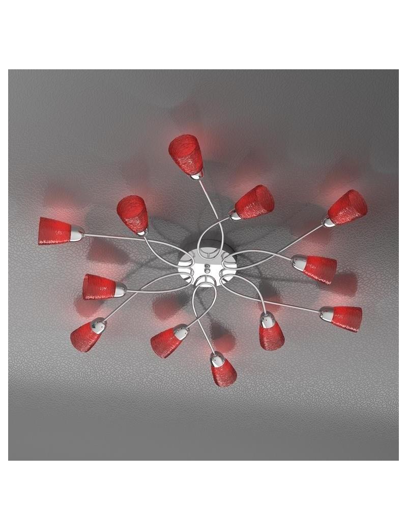 TOP LIGHT: Feeling plafoniera lampada cromo 12 luci vetro rosso in offerta