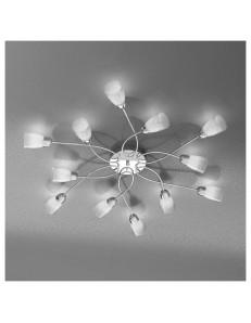 FEELING PLAFONIERA LAMPADA CROMO 12 LUCI VETRO TRASPARENTE TOP LIGHT