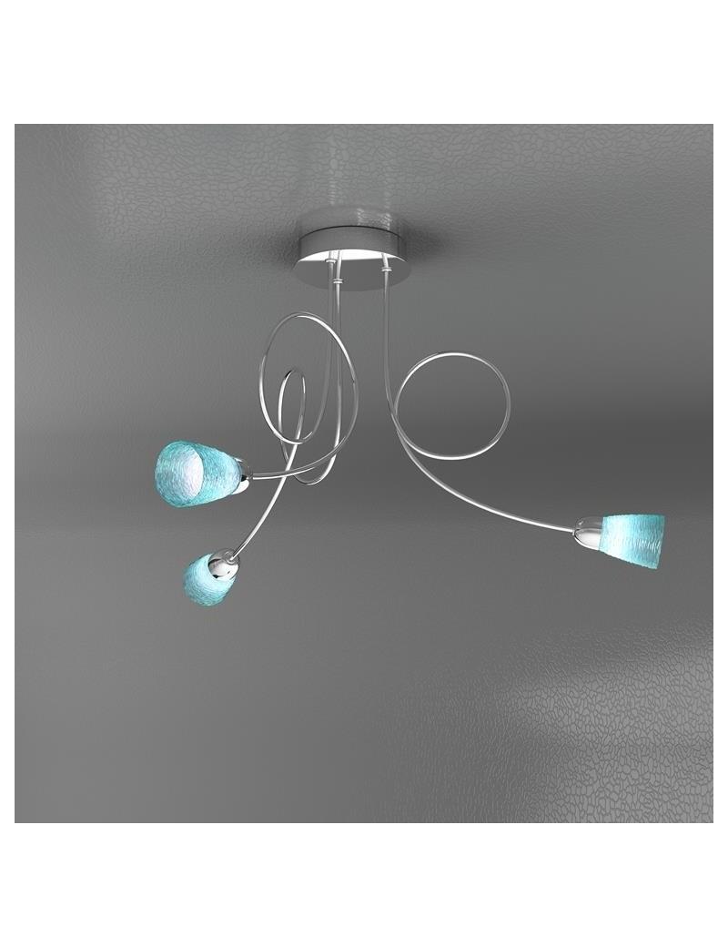 TOP LIGHT: Feeling plafoniera lampada cromo 3 luci vetro azzurro in offerta