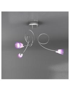 FEELING PLAFONIERA LAMPADA CROMO 3 LUCI VETRO COLORATO LILLA TOP LIGHT