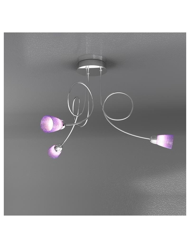 TOP LIGHT: Feeling plafoniera lampada cromo 3 luci vetro colorato lilla in offerta
