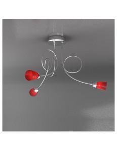 FEELING PLAFONIERA LAMPADA CROMO 3 LUCI VETRO ROSSO TOP LIGHT
