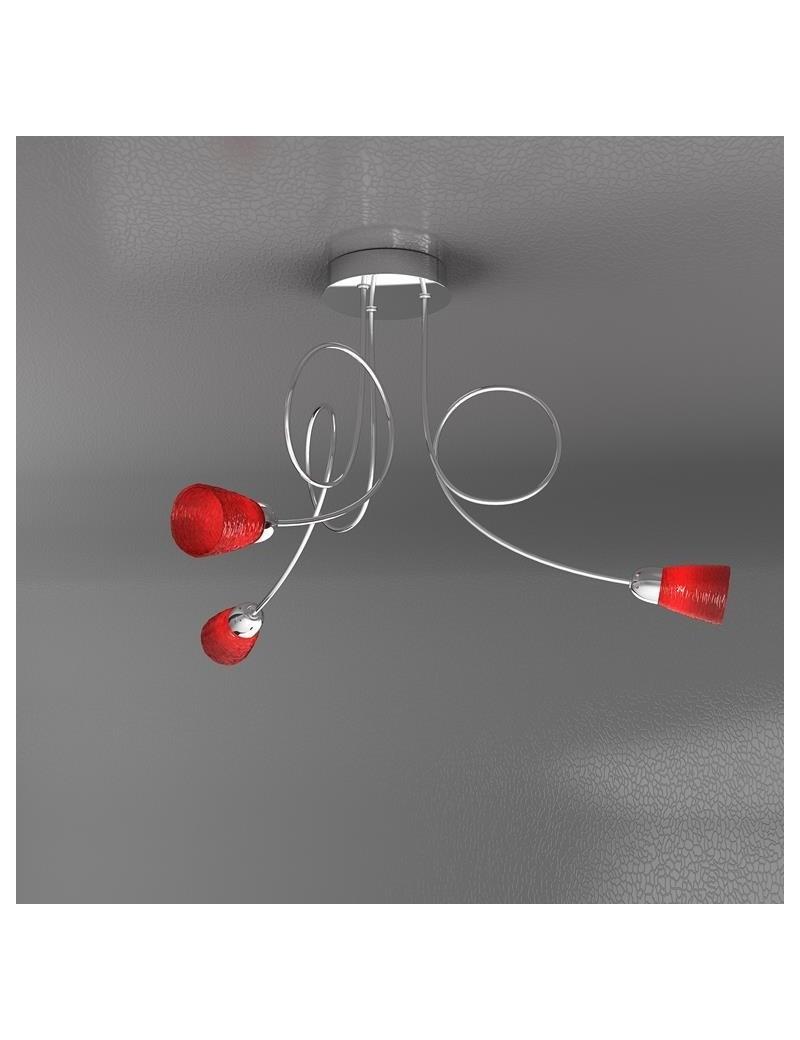 TOP LIGHT: Feeling plafoniera lampada cromo 3 luci vetro rosso in offerta