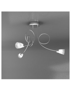 FEELING PLAFONIERA LAMPADA CROMO 3 LUCI VETRO TRASPARENTE TOP LIGHT